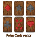 Wooden poker playing card Royalty Free Stock Photo