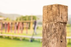 Wooden pole against a green field background stock images