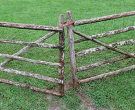 Wooden pole farm pasture gate. Royalty Free Stock Photos