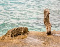 Wooden pole on the seaside. Wooden pole at a harbor dock edge Royalty Free Stock Image