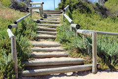 Wooden Pole  Steps to Beach Stock Photography