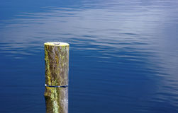 Wooden pole in the water Stock Photos