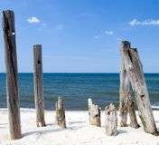 Wooden poles framing. Some wooden poles at a beach, useful copy space in the centre, summer weather, clear horizon Stock Photos