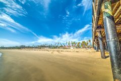 Wooden poles in Santa Barbara pier Stock Photos