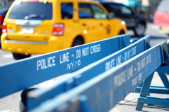Wooden police barricades in New York Royalty Free Stock Photos