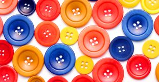 Wooden and polyester buttons Royalty Free Stock Photography