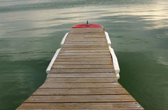 Wooden pontoon on the lake Stock Image