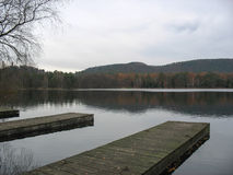 Wooden pontoon and lake in the Vosges Stock Images