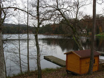 Wooden pontoon and lake in the Vosges Royalty Free Stock Photo