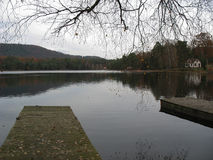 Wooden pontoon and lake in the Vosges Royalty Free Stock Image