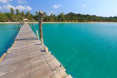 Wooden pontoon in tropical sea Royalty Free Stock Image