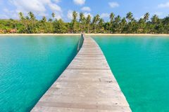 Wooden pontoon in tropical sea Stock Image