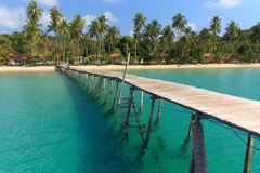 Wooden pontoon in tropical sea Stock Photo