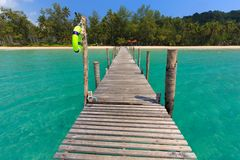 Wooden pontoon in tropical sea Stock Images