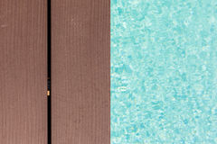 Wooden poolside Stock Photo