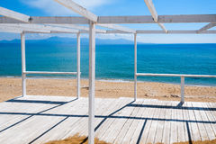 Wooden porch on a beach Royalty Free Stock Images