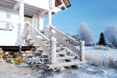 Wooden porch with carved balusters Royalty Free Stock Image