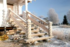 Wooden porch with carved balusters Stock Image