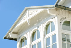 Wooden porch of a house in Binz. With frieze and cornice Stock Photos