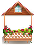 A wooden porch with plants Royalty Free Stock Image