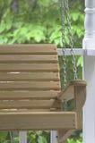 Wooden Porch Swing. Closeup Stock Photo