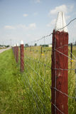 Wooden Post. Rural fence made of steel wire and wooden post Stock Image