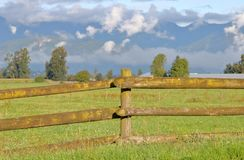 Wooden Post Fence in Rural Setting Stock Images