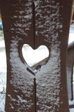 Wooden Post with a Heart Inside Royalty Free Stock Photography