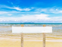 Wooden post at Island on summer Stock Photos