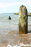 Wooden post in ocean Stock Photo