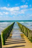 Wooden Posts of a beach erosion protection system along the beach at the town of Vlissingen in Zeeland Province. In the Netherlands royalty free stock image