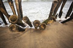 Wooden posts on the beach Stock Image