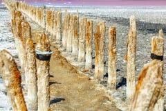 Wooden posts on salt lake salt mining royalty free stock image