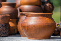 Wooden pot handmade. On a natural background Royalty Free Stock Images