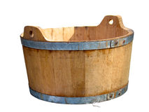 Wooden pot isolated over white Stock Photos