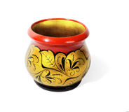 Wooden pot, painted in the style of Khokhloma Royalty Free Stock Images