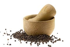 Wooden pounder and pestle Royalty Free Stock Photos