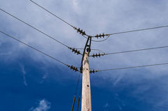 Wooden Power Electricity Pole Pylon,High Volage,Blue Sky Background Stock Photography