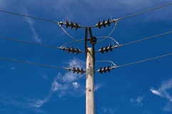 Wooden Power Electricity Pole Pylon,High Volage,Blue Sky Background Royalty Free Stock Photos