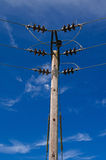 Wooden Power Electricity Pole Pylon,High Volage,Blue Sky Background Stock Images