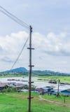 Wooden power pole Stock Photo