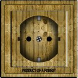 Wooden power socket Royalty Free Stock Image