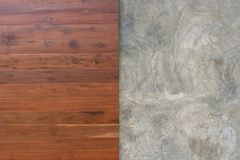 Wooden prank and raw of concrete. Texture background Royalty Free Stock Photo
