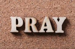 Wooden Pray Text stock photos