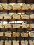 Wooden prayer tablets at a Shinto temple in Japan Royalty Free Stock Photo