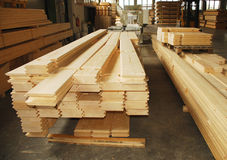 Wooden Prefabricated House Pieces in Factory Royalty Free Stock Images