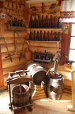 Wooden press and barrels. Wooden press, barrels and bottles for wine Stock Images