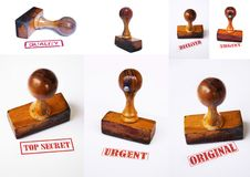 Wooden press stamps collage Stock Photos