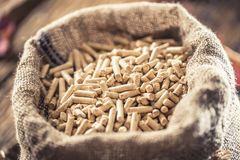 Wooden pressed pellets from biomass in old sack.  stock photo