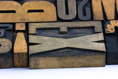 Wooden print, letters Stock Photos